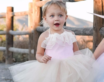 Vintage Ruffle Blush Pink And Cream Tutu Dress