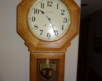 Vintage Oak Octagon Regulator Wall Clock Key Wind, Stikes on the Hour, Saint Charles name on Face