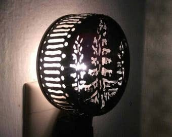Night light,woodland, pine tree, forest. Tin can light. Recycled art. Upcycled tin can. Baby shower gift.  Shadow lamp. tin anniversary gift