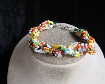 Vintage Hand Made Multi Colored Glass Beaded Bracelet
