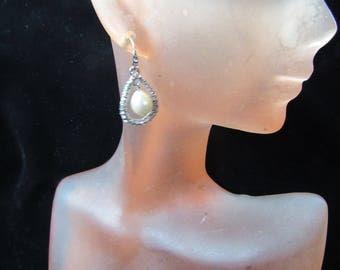 Vintage Pair Of Signed Carolee Faux Pearl Rhinestone Pierced Dangle Earrings