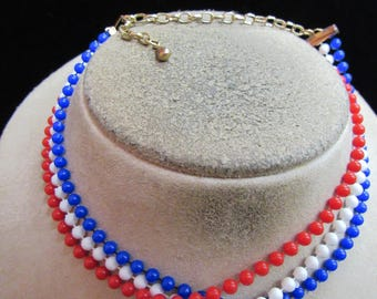 Vintage Triple Stranded Red White & Blue Beaded Necklace