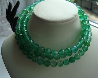 green onyx facet stone pearls on memory wire for necklaces pinterest