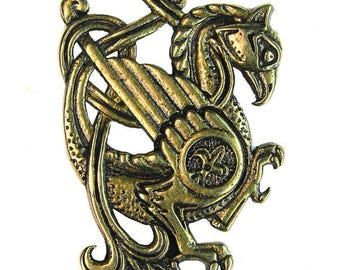 Griffin Pendant -gryphon-grifo-Norse.Vikings jewelry-Celtic-Knot.Bronze.bird.dragon.chaperon.greif.Medieval Mythology