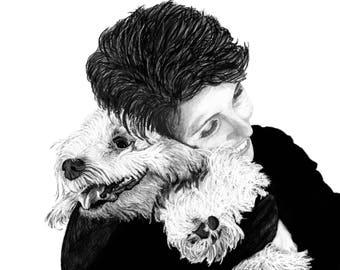 "Portraits, Custom Portraits, human and pet, drawing, gift, art - 8""x10"" or 11""x14"" print plus a digital JPG & PDF file - Example here"
