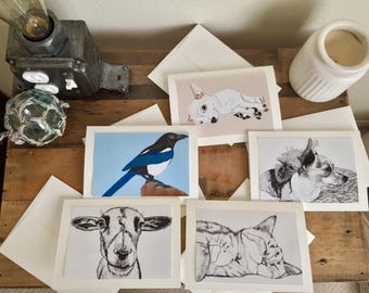 """Dog, bird, cat, goat blank greeting card - 5""""x7"""" - Choose your style"""