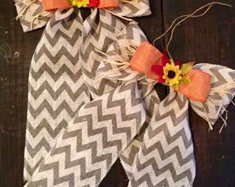 Large vintage bows, large fall bows, fall door decor, door hanger, wreath replacement, fall wreath bows, holiday bows, chevron bow