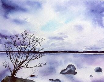Waterside Original watercolor painting , landscape , trees , stones , lake , purple , sky , clouds