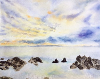 Original Ocean sunset watercolor painting , sea scape,landscape , stones , lake , yellow, sky , clouds , natural, wall decor, home decor