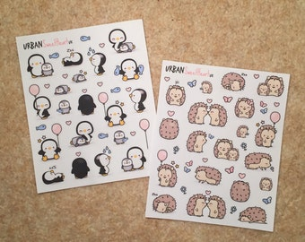 Set of 20+ Cute Penguin/Hedgehog Stickers