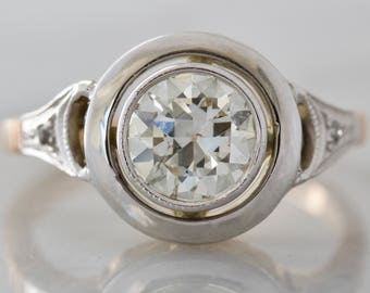 Vintage Bezel Set Two Tone Diamond Engagement Ring | Anastasia