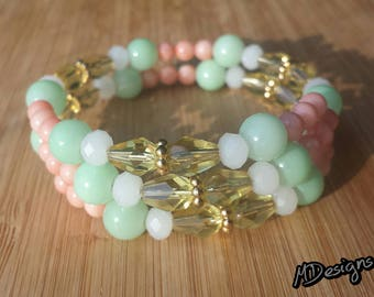 Green and Peach Glass and Coral Warp Bracelet
