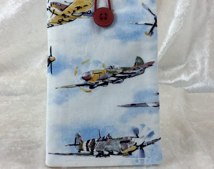 Vintage Aircraft Large Phone Glasses Case fabric elastic button Handmade in England
