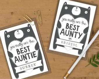 Aunty birthday Card, Auntie birthday Card, personalised Aunty birthday card, Free UK delivery, personalized Auntie birthday card