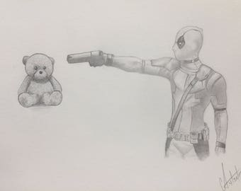 Original Deadpool Pencil Drawing