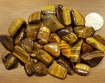 TIGERS EYE Tumbled Stones Set of 4 four large Gemstones Crystal Healing 3rd Eye Wicca Reiki Chakra Kemet Egypt Metaphysical ASCENSION888