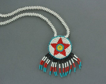 Native American Beaded Medallion Necklace