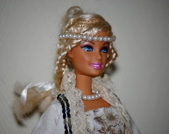 White beads jewelry for Barbie - handmade - 29 cm doll - 11'' to 11,5 '' mannequin doll - fashion royalty-monster high