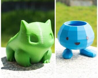 Oddish and Bulbasaur High Poli Gift Set  - Pokemon Planter - 3d Printed Garden / Home Decoration