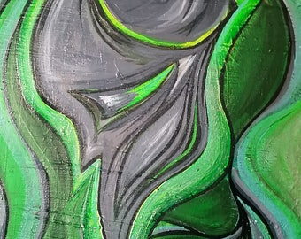 """15"""" x 30"""" Green Creator Painting acrylic on gallery canvas"""
