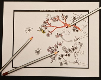 Bees And Cherry Blossom, Digital Adult Coloring Page