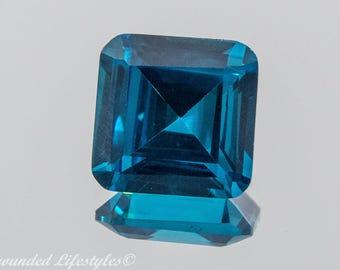 Blue Zircon - 9.92mm Square Cut 7.15 Carats  Faceted Gem- Brazil