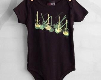 GUITARS hand-screened baby onesie