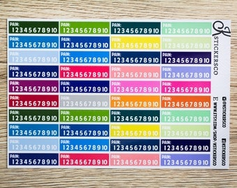 Multi Colour Functional Pain Scale Tracker Planner Stickers for Erin Condren and Recollection Life Planner