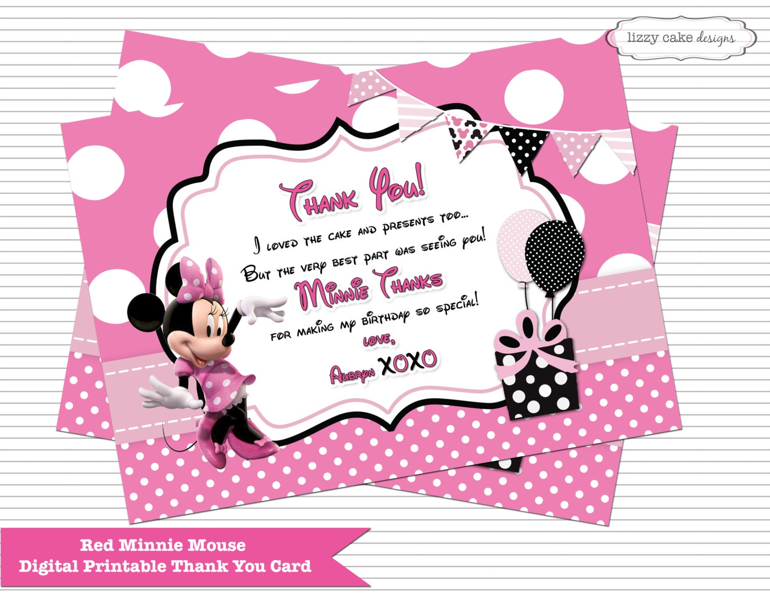 Hot Pink Minnie Mouse Birthday THANK YOU CARD, Minnie Mouse Inspired ...