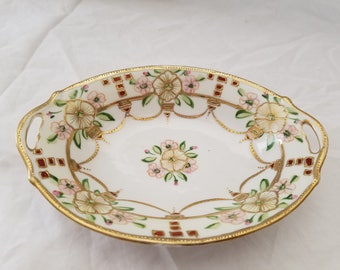 "Fancy Nippon Hand painted Japan 7"" Decorative Dish GOld with pink flowers"