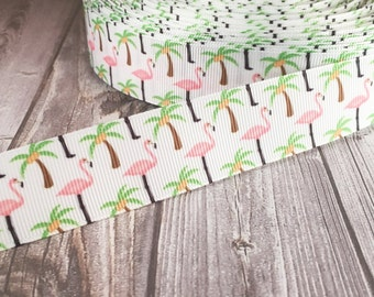 Flamingo ribbon - Palm tree ribbon - Tropical ribbon - 1 inch ribbon - Bird ribbon - Florida bird ribbon - Pink and green - Pink flamingo