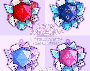 "PREORDER - D&D Dice Acrylic Charms (2"", doublesided)"