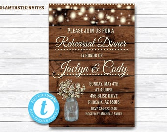 Rustic Rehearsal Dinner Invitation, Rustic Invitation, Mason Jar invitation, Flower Invitation, Rehearsal Dinner Invitation, Wood Invitation