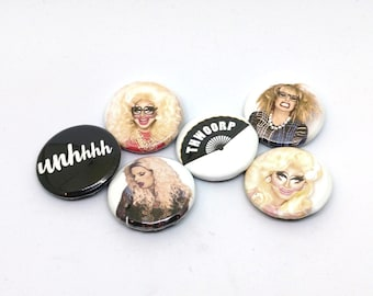 UNHhhh Trixie and Katya Drag Queen Buttons or Magnets - World of Wonder Fan Art - Thwoorp Fan - Trixie Mattel and Katya Zamolodchikova