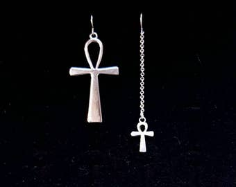ANKH earrings, victorian goth, mismatched earrings, asymmetrical, vampire, egyptian earrings, gothic jewelry, cleopatra, the hunger, ishtar