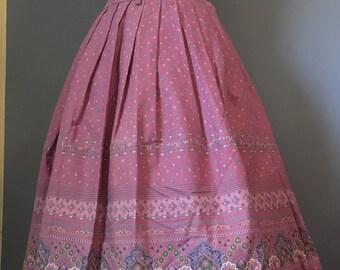 Vintage Austria made pink floral 100% cotton skirt.