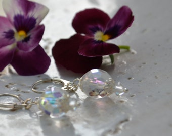 Sterling Silver and Crystal Glass Lever Back Earrings