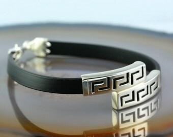 greek key silver bracelet, greek key bracelet, greek bracelet, bracelet for men, men's bracelet, greek key, greek jewelry, men's jewelry
