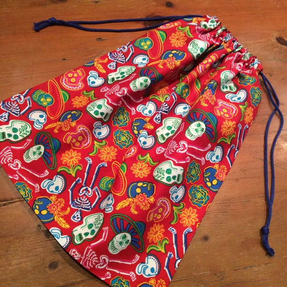 Library Bag,Extra Large 50cm x 42cm, Drawstring, Red & Multi Colour Skeletons