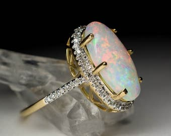 Opal and Diamonds 14K Gold Ring art 5047 | Yellow Gold Organic Australian Opal Engagement Ring Fine Jewelry