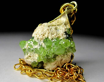 Demantoid Silver Gold Plated Pendant art 1639 | Big Raw Natural Organic Garnet Fine Jewelry