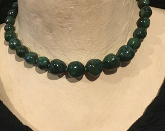 Dark Green Swirl Lucite Necklace Vintage  Early Plastic Choker Costume Jewelry 1950's 50's