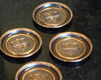 4 Hyde Park Coasters/ Heraldry/ Coat-of-Arms/ Medieval Coasters/ Brass/ Bronze