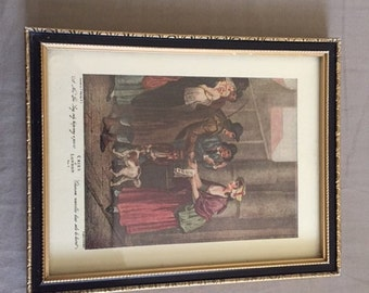 Vintage Framed Cries of London Print Plate II A New Love Song