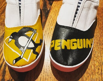 Pittsburgh Penquins inspired canvas painted shoes
