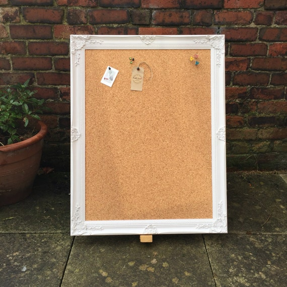LARGE FRAMED CORKBOARD - Extra Large Pin Board - Ornate Cork Board / Shabby Chic Notice Board / Large Vision Board / Framed Message Board