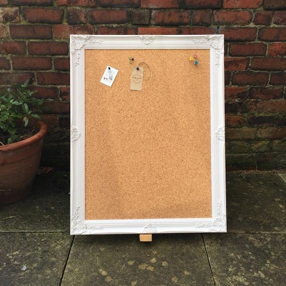 LARGE FRAMED CORKBOARD - Extra Large Pin Board | Ornate Cork Board | Shabby Chic Notice Board | Large Vision Board | Framed Message Board
