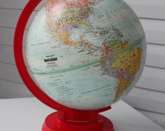 Vintage 9 inch Replogle World Scholar Globe with Hard to Find Red Base