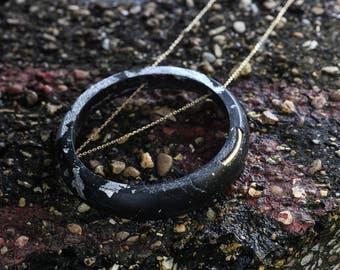Resin Pendant | Circle Pendant | Circle Necklace | Black & Gold