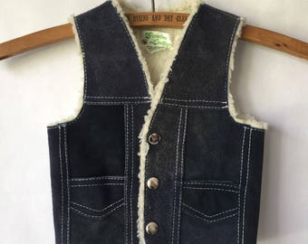 Vintage Children's Vest - Leather Sheepskin Lining 12 months - 2t